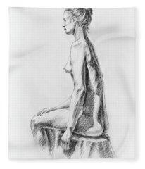 Sitting Woman Study Fleece Blanket
