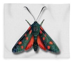 Six Spot Burnet Butterfly - Zygaena Filipendulae Naturalistic Painting - Nettersheim Eifel Fleece Blanket