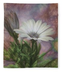 Sketchy Daisy In Mother Of Pearl Fleece Blanket