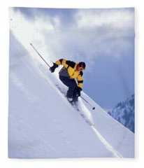 Skier On Powder Slope Fleece Blanket