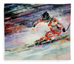 Skiing 01 Fleece Blanket