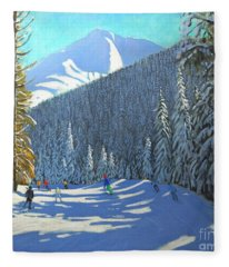 Skiing  Beauregard La Clusaz Fleece Blanket