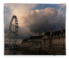 Sky Drama Around The London Eye Fleece Blanket