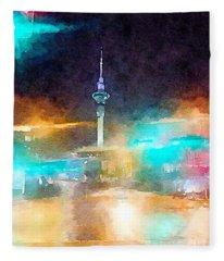 Sky Tower By Night Fleece Blanket