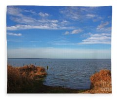 Sky Water And Grasses Fleece Blanket