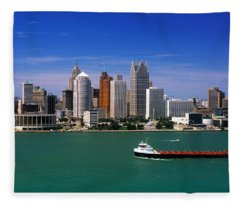 Skylines At The Waterfront, River Fleece Blanket