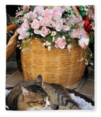 Sleeping Cat At Flower Shop Fleece Blanket
