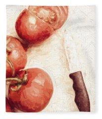 Sliced Tomatoes. Vintage Cooking Artwork Fleece Blanket