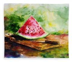 Sliced Watermelon Fleece Blanket