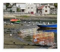 Small Boats And Seagulls In Galicia Fleece Blanket