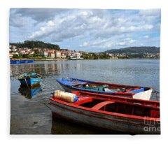 Small Boats In Galicia Fleece Blanket