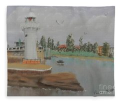Small Lighthouse At Wollongong Harbour Fleece Blanket
