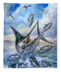Small Tuna And Blue Marlin Jumping Fleece Blanket