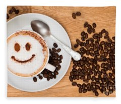 Smiley Face Coffee Fleece Blanket