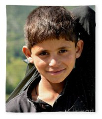 Smiling Boy In The Swat Valley - Pakistan Fleece Blanket