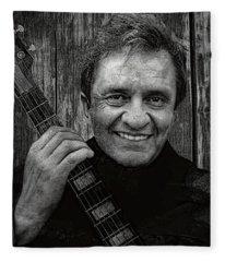 Smiling Johnny Cash Fleece Blanket