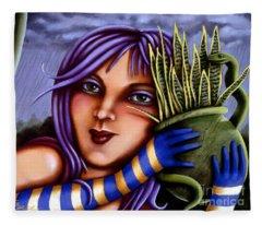 Snake Snakeplant Fleece Blanket