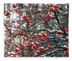 Snow- Capped Mountain Ash Berries Fleece Blanket