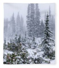 Snow Covered Mountain Ash Fleece Blanket