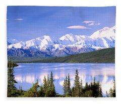 Snow Covered Mountains, Mountain Range Fleece Blanket