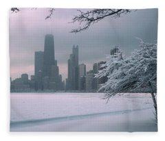 Snow Covered Tree On The Beach Fleece Blanket