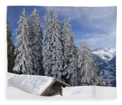 Snow Covered Trees And Mountains In Beautiful Winter Landscape Fleece Blanket