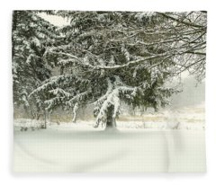 Snow-covered Trees Fleece Blanket