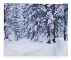 Snow-dappled Woods Fleece Blanket