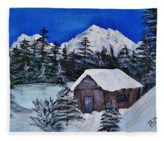 Snow Falling On Cedars Fleece Blanket