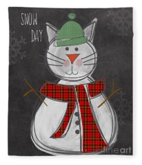 Snow Kitten Fleece Blanket