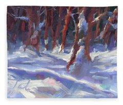 Snow Laden - Winter Snow Covered Trees Fleece Blanket