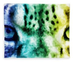 Snow Leopard Eyes 2 Fleece Blanket