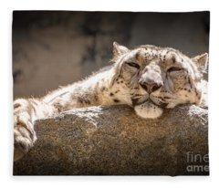 Snow Leopard Relaxing Fleece Blanket