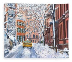 Snow West Village New York City Fleece Blanket