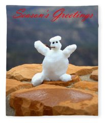 Snowball Snowman Fleece Blanket