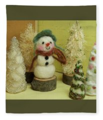 Snowman And Trees Holiday Fleece Blanket