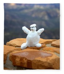 Snowman At Bryce - Square Fleece Blanket
