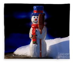 Snowman By George Wood Fleece Blanket