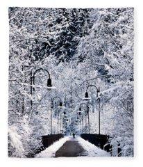 Snowy Bridge Fleece Blanket