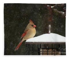 Snowy Cardinal Fleece Blanket