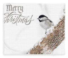 Snowy Chickadee Christmas Card Fleece Blanket