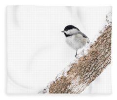 Snowy Chickadee Fleece Blanket