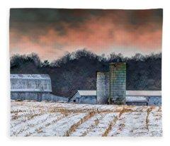 Snowy Cornfield Fleece Blanket