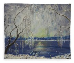 Snowy Day At The Lake Fleece Blanket