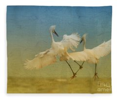 Snowy Egret Dance Fleece Blanket