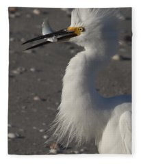 Snowy Egret Fishing Fleece Blanket