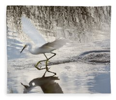 Snowy Egret Gliding Across The Water Fleece Blanket