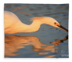 Snowy Egret Mirror Fleece Blanket