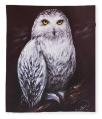 Snowy Owl In The Night Fleece Blanket