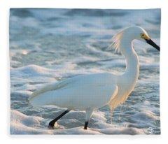 Snowy Siesta Key Sunset Fleece Blanket